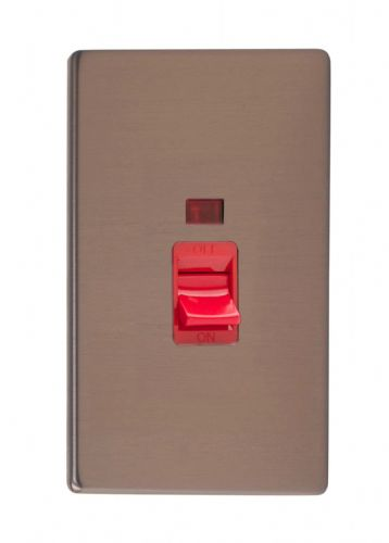 Varilight XDY45NS.BZ Screwless Brushed Bronze 45A DP Cooker Switch Vertical Twin Plate + Neon